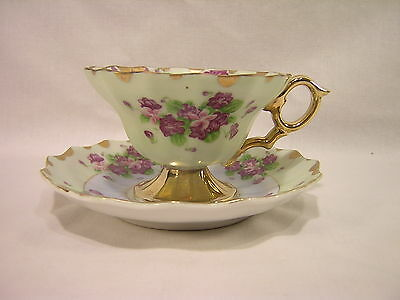 Lefton China Violets Decorated Cup & Saucer ~ 801