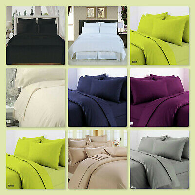100% Egyptian Cotton T300 Fitted Sheets Size Single Double King Pillowcases