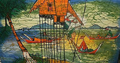 Malaylsian Village Seascape Boats Original Batik Painting Signed