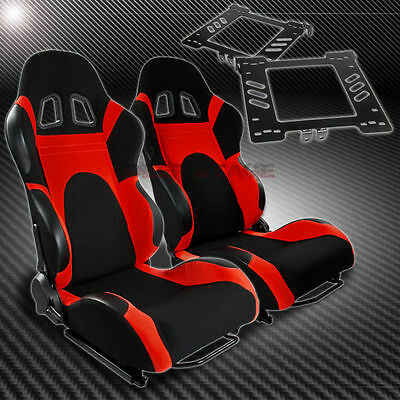 For 99-05 Vw Golf Mk4/jetta Bracket+T-6 Reclining Black Red Woven Racing Seat X2