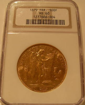 France 1879 A Gold 100 Francs NGC MS-60 Angel