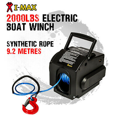 I-MAX 12V 2000LBS Portable Electric Synthetic Rope Boat Winch ATV Quad 4WD 4x4
