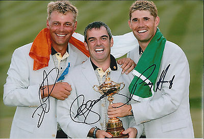 Paul McGINLEY HARRINGTON CLARKE SIGNED Autograph Photo AFTAL Ryder Cup Golf RARE