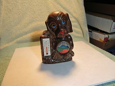 """Cute 5"""" tall ceramic puppy dog shaped Pikes Peak souvenir thermometer-Japan."""