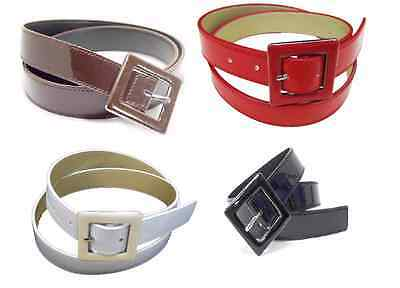 "#wn148 - 1.25"" Wide Patent Leather Ladies Belt In Black, Brown, Red Or White"