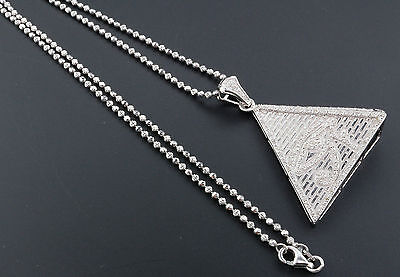 Diamond Eye of Ra Pyramid .925 Sterling Silver 0.60 Ct Egyptian Pendant w/ Chain