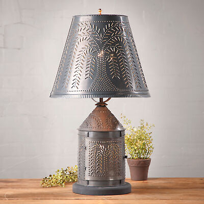 ORNATE WILLOW PUNCHED TIN LANTERN LAMP candelabra base w PRIMITIVE Rustic Shade