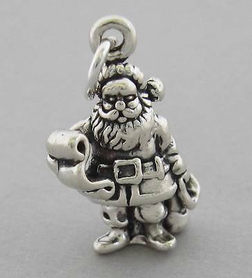 New Sterling Silver 925 Charm Pendant 3D SANTA CLAUS with LIST Christmas 3589