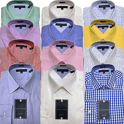 Tommy Hilfiger Dress Shirt Mens Regular Fit Spread Or Point Collar Classic New