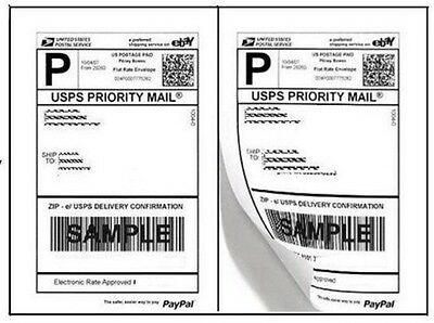 """NEW 200 Half Sheet Adhesive Shipping Labels for Laser/InkJet 5 1/2"""" x 8 1/2"""""""