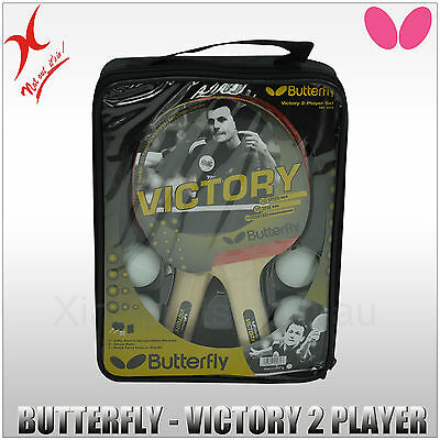 Butterfly Table Tennis Blade / Bat - Victory 2 Player Set - Long Handle Racquet