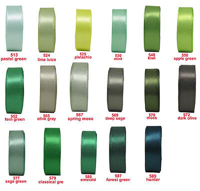 """25y 50y 16mm 5/8"""" Green Shades Premium Double Sided Faced Satin Ribbon Eco"""