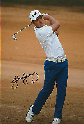 Jin JEONG SIGNED Autograph Photo AFTAL COA South Korean European Tour Winner