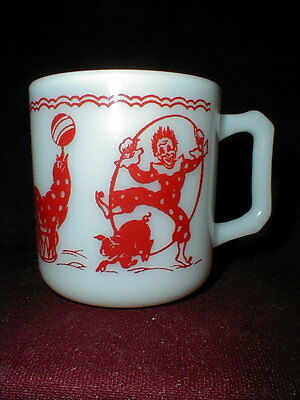 Hazel Atlas Milk Glass Red Circus Clown Child's/Children's  Mug/Cup