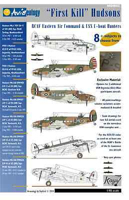 First Kill Hudsons: RCAF and USN aircraft – 1/48 scale Aviaeology Decals 'n Docs