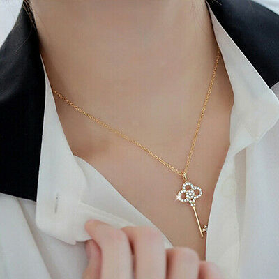 New Fashion Women Girl Lady Key Pendant Charm Gold Plated Chain Necklace GIFT