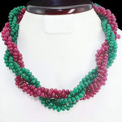 Best Quality 691.00 Cts Natural Earth Mined Ruby & Emerald Beads Necklace Strand