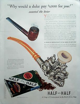 1941 Lucky Strike Half And Half Pipe Silver Mounted Meerschaum Gladiators ad