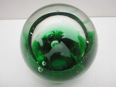Vintage Glass Green (2) Etched Dolphin Paperweight