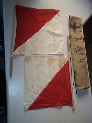 U.S. Army WW2 Flag Kit Original Canvas Bag Vintage Fast Shipping