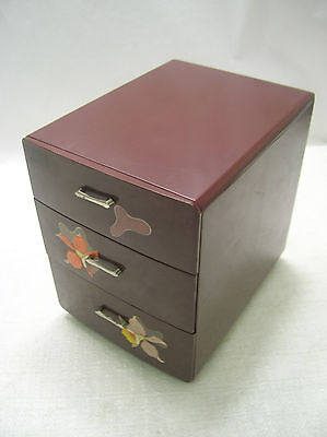 Antique Kiri Wood Sewing Box Japanese Drawers Circa 1960s #237