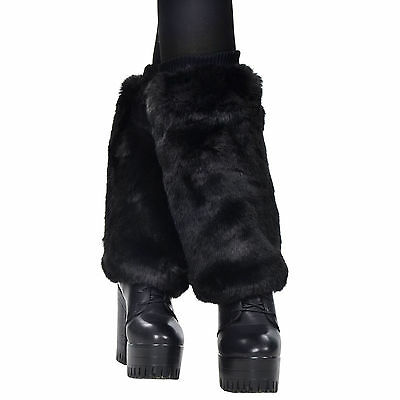 Women Fluffy Faux Fur Leg Warmers Muffs Boot Cuff Toppers Cover Club Dance