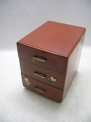 Vintage Lacquered Kiri Wood Sewing Box 'Hari-Bako' Japanese Circa 1940s  #243