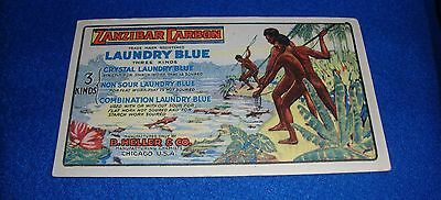 Vintage Black Americana Trade Card Zanzibar Carbon Laundry Blue Ad Label