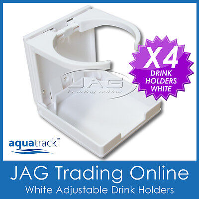 4 x ADJUSTABLE FOLDING WHITE DRINK CUP HOLDERS- Boat/Marine/Caravan/4x4/RV/Car W