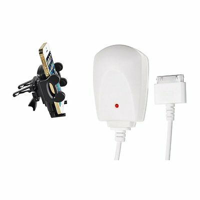Air Vent Holder+White UK Mains Home Charger Cable for Apple iPod Touch 4 4G 4th