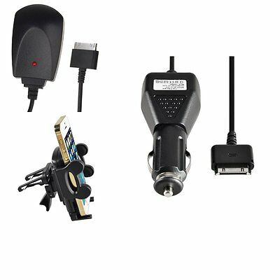 Mount Holder+Black Mains+Car Charger Adapter Cable Kit For iPod Nano Classic