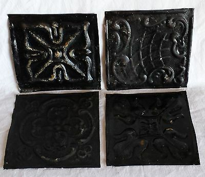 "4 6"" x 6""  Antique Tin Ceiling Tiles *SEE OUR SALVAGE VIDEOS* Tx20 Black"