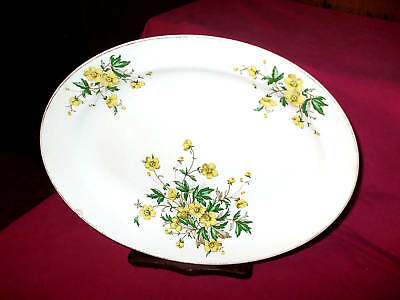 KNOWELS VINTAGE OVAL SERVING PLATTER WITH YELLOW  FLOWERS / USA / 11'' X 13''