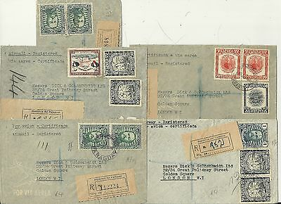 c.1948 x 5 PARAGUAY COVERS REGISTERED TO LONDON COMMERCIAL