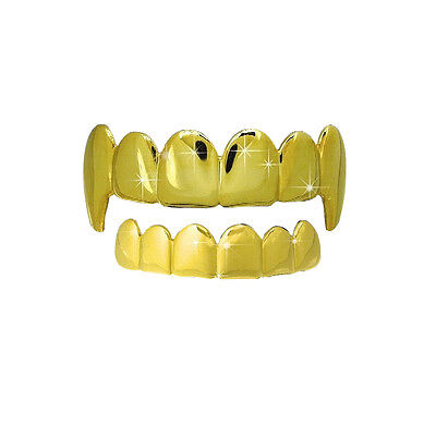 DRACULA Fang Denti HALLOWEEN Oro Top Inferiore PARURE Hiphop
