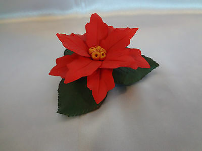 Capodimonte - Made in  Italy - Red Poinsettia Flower on Green Leaves