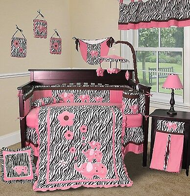 Baby Boutique - Pink Zebra - 14 pcs Crib Bedding Set including Music Mobile