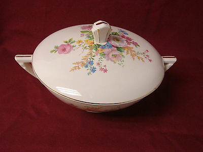 Vintage Knowles, Edwin, China Dinnerware Pink rose spray, Covered Vegetable dish