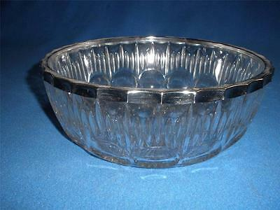 Retro Patterned Glass Bowl  With Chrome Edging