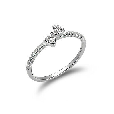 925 Sterling Silver 1mm Ring with CZ Crystal Bow / UK Size J -V