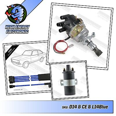 Ford cross flow high energy distributor with matching coil & 8mm blue HT leads