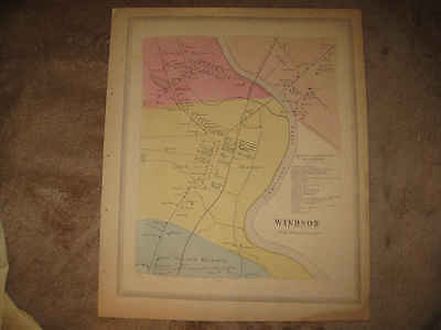 Antique 1869 Windsor City Hartford County Connecticut Handcolored Map Superb Nr