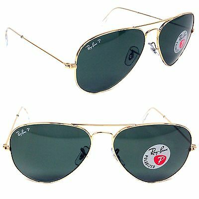 Ray-Ban Polarized Aviator Sunglasses RB 3025 001/58 Gold Frame 55, 58 or 62mm
