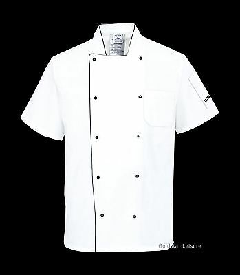 Portwest Aerated Chef Jacket Catering Uniform Short Sleeve Pocket Mesh Back C676