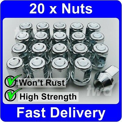 20 x ALLOY WHEEL NUTS FOR SUZUKI (M12x1.25) TAPERED SEAT 19MM HEX LUG BOLTS [U7]