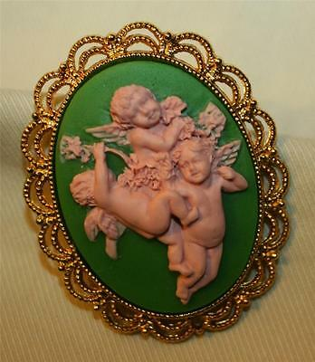 Colorful Scalloped Rim Goldtone Green & Pink Sculpted Angels Cameo Brooch Pin