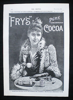 Original Fry's Frys Cocoa Victorian Magazine Advert Lady Drinking 1894