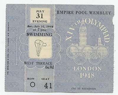 Orig.ticket    Olympic Games LONDON 1948 - SWIMMING 31.07.1948 // 3 FINAL`s !!