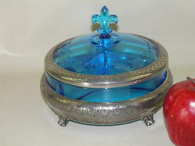 Antique Victorian Aesthetic Silver Plated Blue Glass French Fleur De Lis Bowl