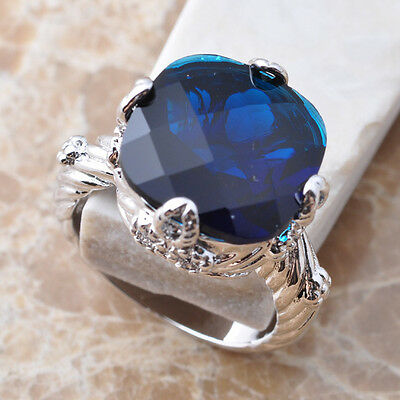 Awesome Blue Sapphire Gemstone Silver Jewelry Size 6 7 8 9 S0957